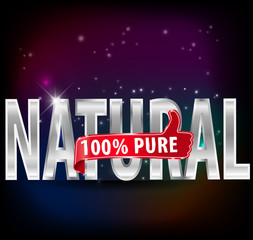 100% natural and pure silver label with thumbs