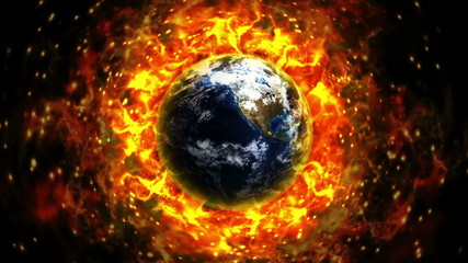 Fiery Earth Background, with Alpha Channel