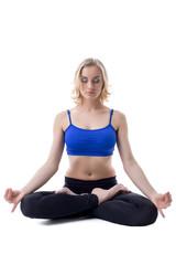Beautiful woman meditates, isolated on white