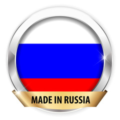made in russia silver badge isolated button