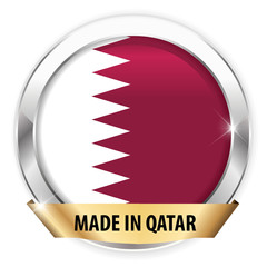 made in qatar silver badge isolated button