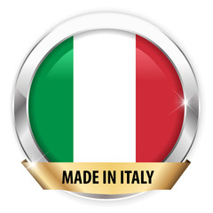 made in italy silver badge isolated button