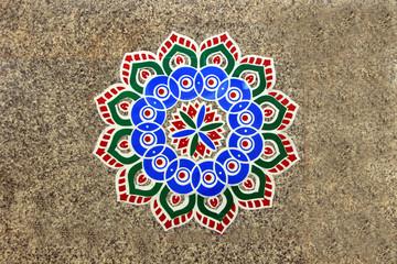 Rangoli Pattern on Floor