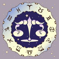 Libra zodiac sign, vector illustration