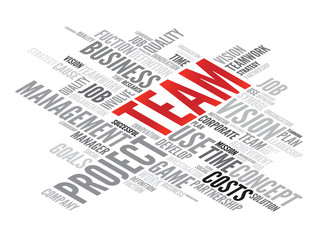 TEAM business concept in word tag cloud, vector background