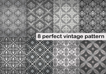 8 vintage seamless pattern