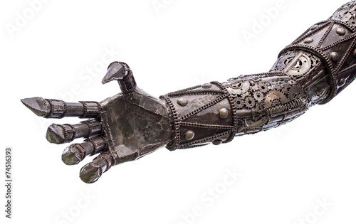 Hand of Metallic cyber or robot made from Mechanical ratchets bo - 74516393