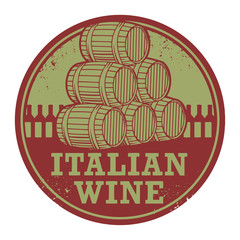 Grunge rubber stamp with words Italian Wine, vector
