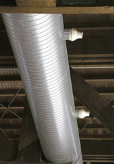 steel pipes to a heating plant in the industrial structure