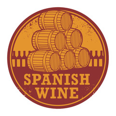 Grunge rubber stamp with words Spanish Wine, vector