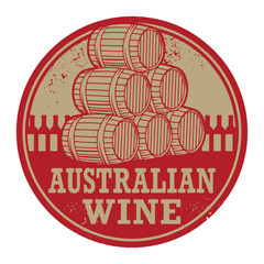 Grunge rubber stamp with words Australian Wine, vector