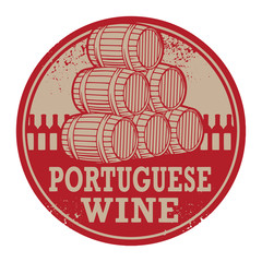 Grunge rubber stamp with words Portuguese Wine
