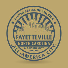 Grunge rubber stamp with name of Fayetteville, North Carolina
