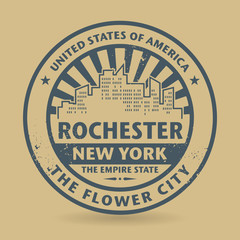 Grunge rubber stamp with name of Rochester, New York