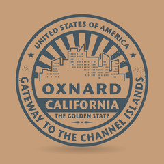Grunge rubber stamp with name of Oxnard, California