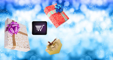 Flying christmas gifts.Internet holiday buy