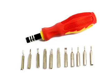 Screwdriver on a white background Changing head