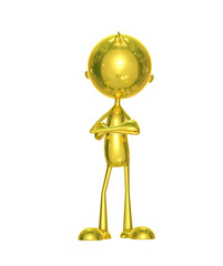Golden character with folding hand