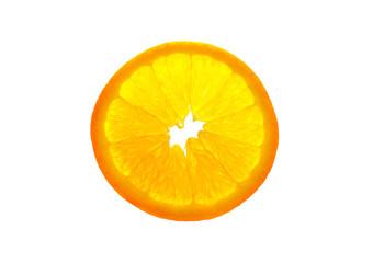 Transparent orange slice isolated on white background