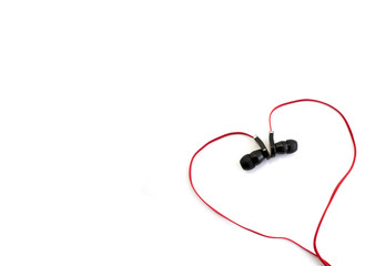 red earphone setting in heart shape and spacing for caption