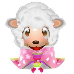 羊 子供 女の子 お辞儀 着物 イラスト
