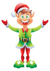Christmas elf welcome with open hands isolated