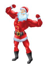 Muscular santa claus posing biceps