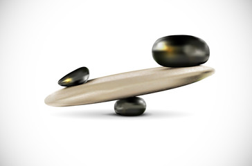 Seesaw from stones on white background - balance concept