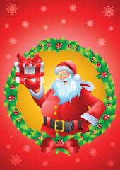 Santa christmas card mistletoe background