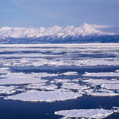 流氷と知床連山