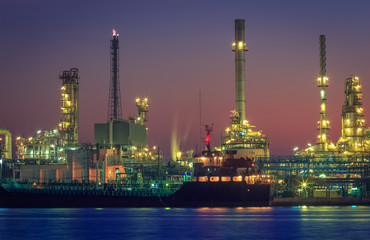 Gas storage spheres tank in petrochemical at night