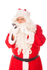 santa claus on white background using smart technology
