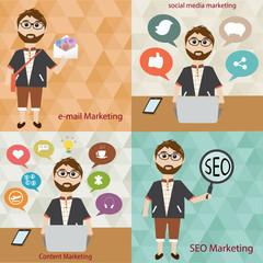 Hipster man in digital marketing