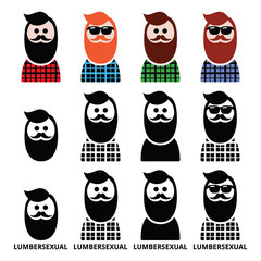 Lumbersexual man, lumberjack - fashion trend icons set