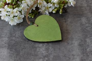 Kirschblüten mit grünem Herz