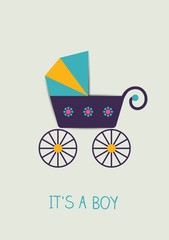Baby announcement card. Vector buggy illustration.