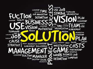 Hand drawn SOLUTION business concept in word tag cloud