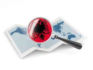 Magnified flag of albania with map