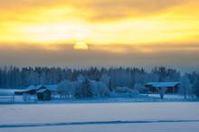"Постер, картина, фотообои ""Polar winter dusk landscape"""