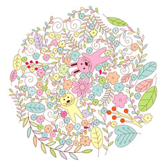 Circle Flower with Cat and Rabbit Vector