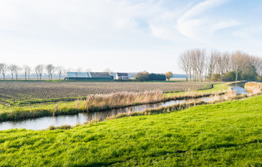 Meandering river in a rural landscape