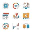 Infographics and analysis line icons set