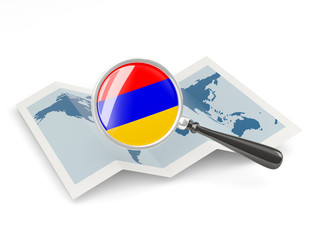 Magnified flag of armenia with map