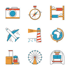 Travel and vacation line icons set
