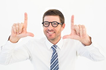 Businessman pointing with his fingers