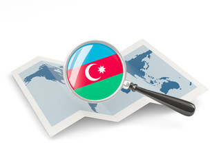 Magnified flag of azerbaijan with map