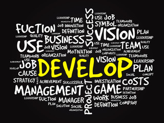 Hand drawn DEVELOP business concept in word tag cloud