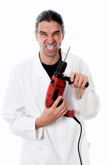 crazy dentist with red drilling machine