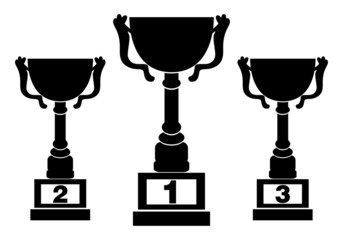 Black silhouettes of champions cups, award design