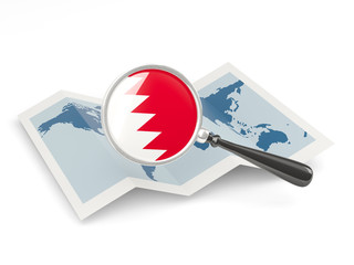 Magnified flag of bahrain with map